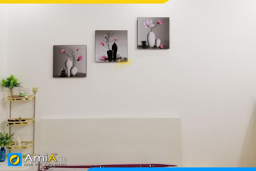 Hình ảnh Bộ tranh bình hoa mộc lan trang trí tường phòng ngủ đẹp AmiA 1381