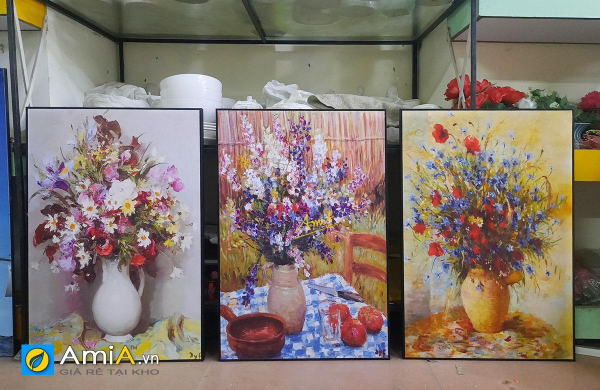 Hình ảnh Bộ tranh bình hoa nghệ thuật treo phòng ăn nhà bếp