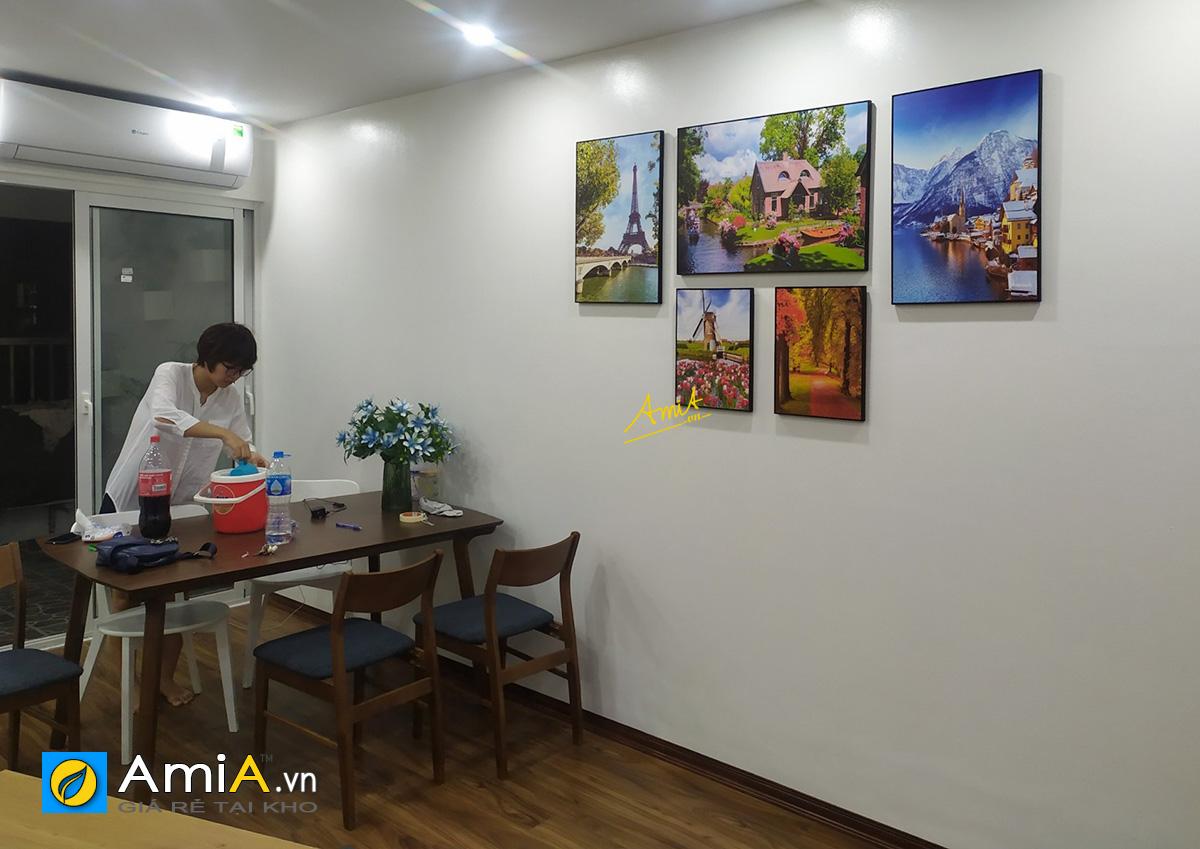 Hình ảnh Bộ tranh phong cảnh nước ngoài đẹp nhẹ nhàng treo phòng ăn