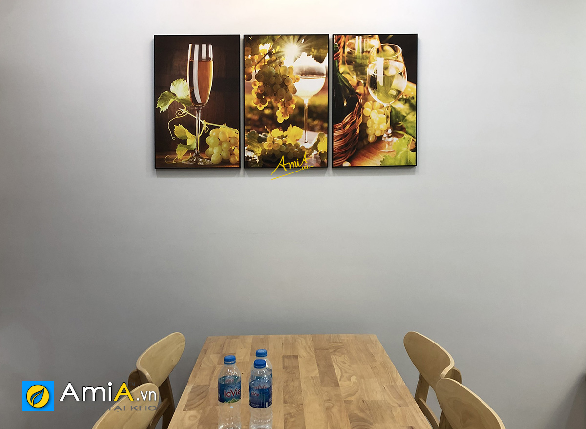 Hình ảnh Bộ tranh rượu vang chùm nho trang trí bàn ăn mã 1482