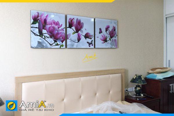 Hình ảnh Bộ tranh treo phòng ngủ đẹp hiện đại hoa mộc lan AmiA 1423