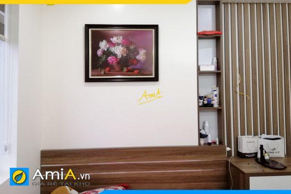 Hình ảnh Bức tranh bình hoa trang trí tường phòng ngủ đẹp sang trọng AmiA BH111