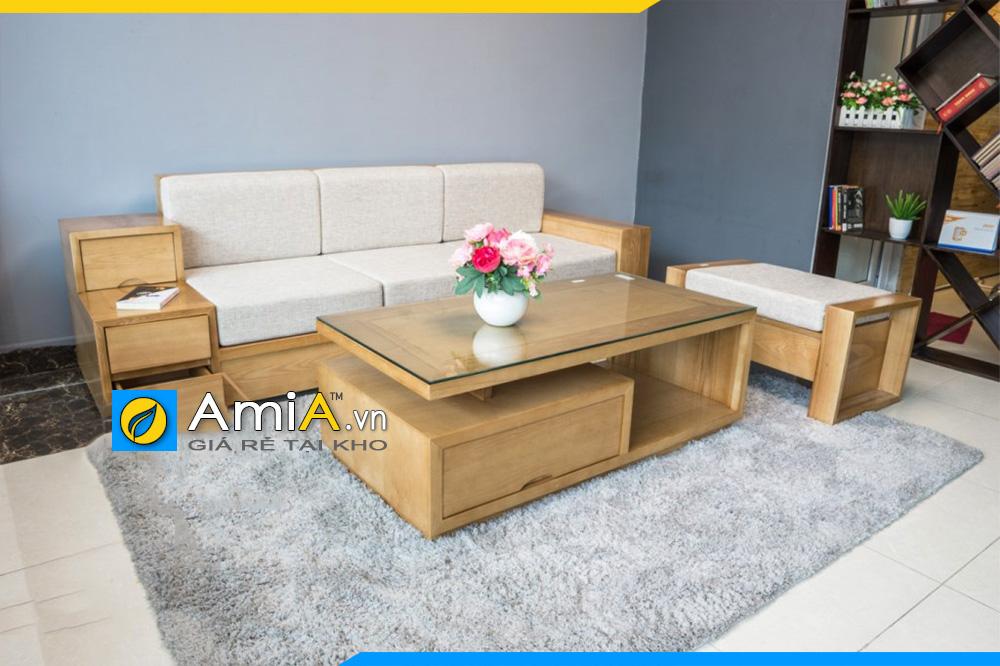 các mẫu sofa văng ba chỗ ngồi gỗ sồi đẹp