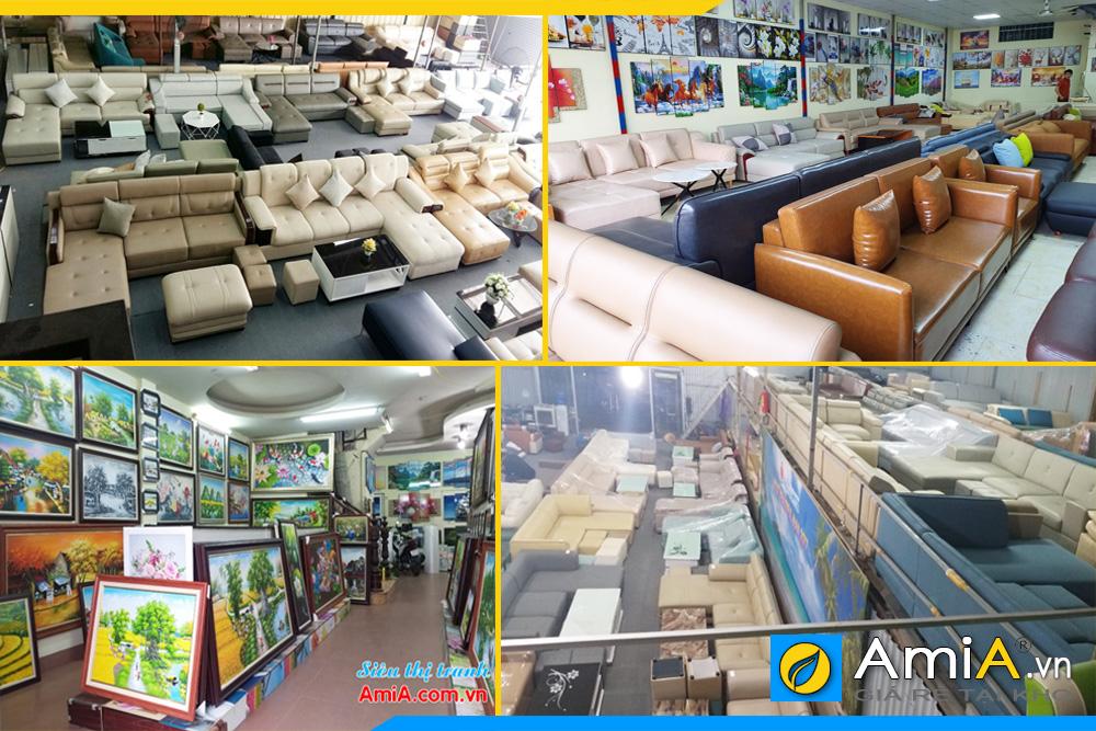 Hệ thống cửa hàng bán nội thất AmiA với đa dạng mặt hàng từ bàn ghế ăn, tranh treo tường đến sofa các loại, ...