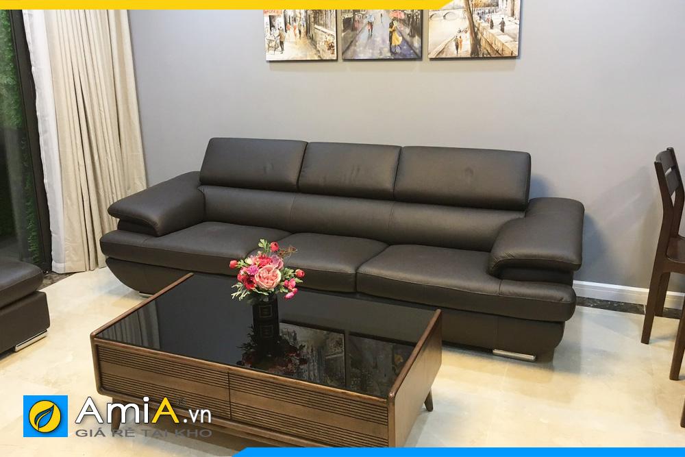 ghế sofa văng ba chỗ ngồi đẹp giá rẻ cho phòng khách chất liệu da công nghiệp