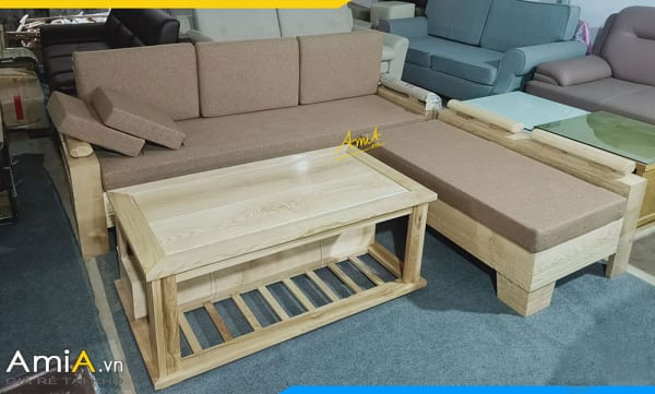 Mẫu sofa gỗ Sồi dạng góc giá rẻ được bán chạy nhất