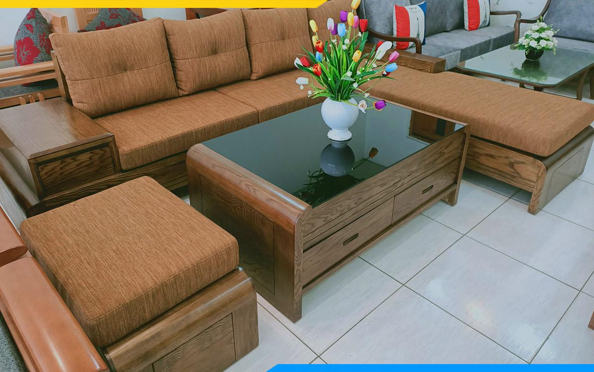 Sofa góc chữ L kê phòng khách đẹp, giá rẻ