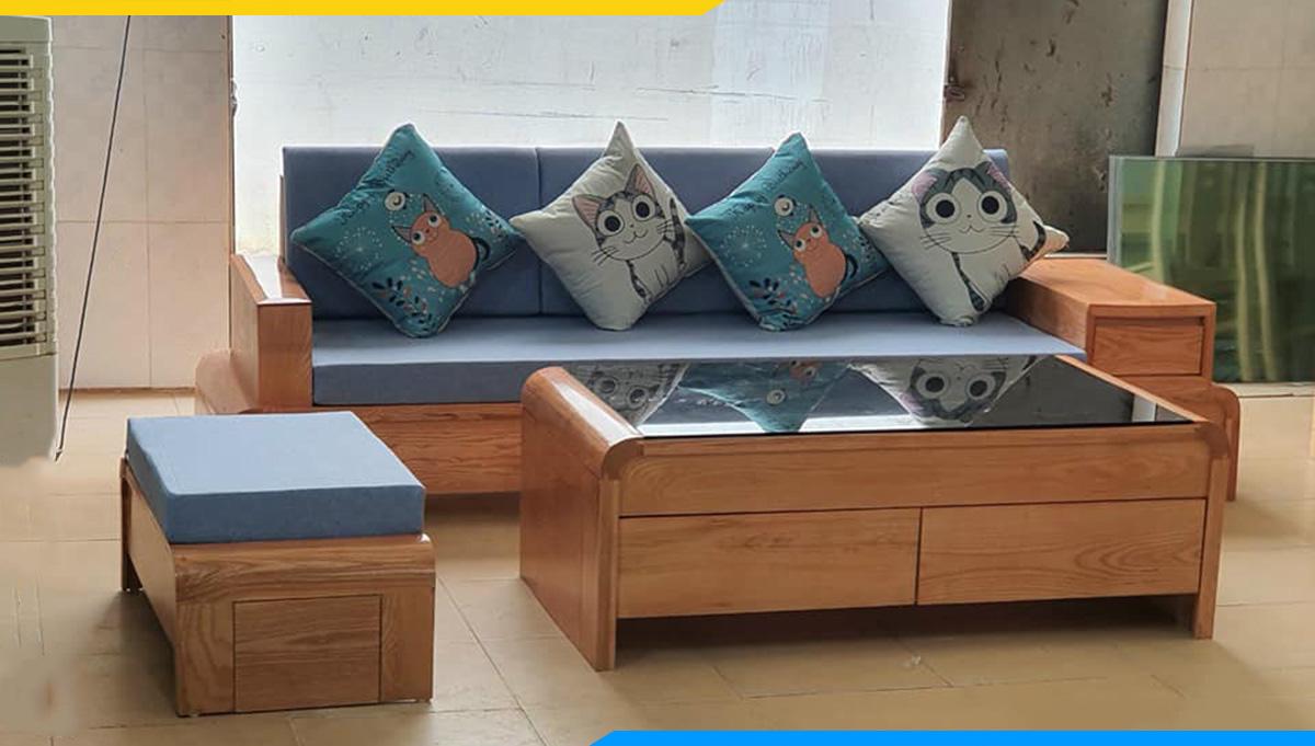 Sofa gỗ văng nệm nỉ xanh trẻ trung giá chỉ dưới 10 triệu