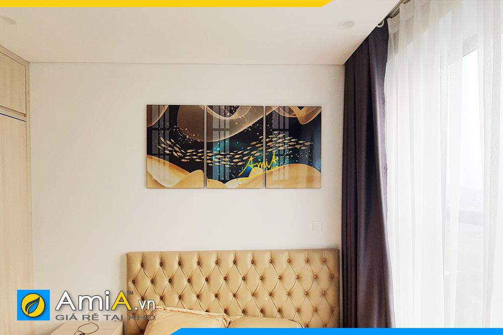 Hình ảnh Tranh cá vàng đẹp nghệ thuật treo phòng ngủ hiện đại AmiA 1702