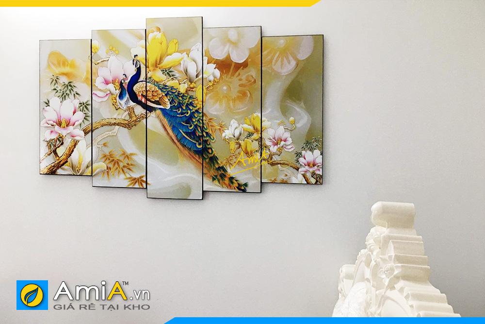 Hình ảnh Tranh đôi chim công và hoa mộc lan treo phòng ngủ AmiA 1414