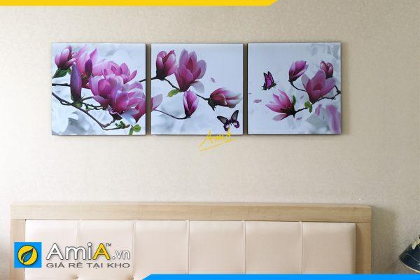 Hình ảnh Tranh hoa mộc lan ghép 3 tấm treo tường phòng ngủ đẹp hiện đại AmiA 1423