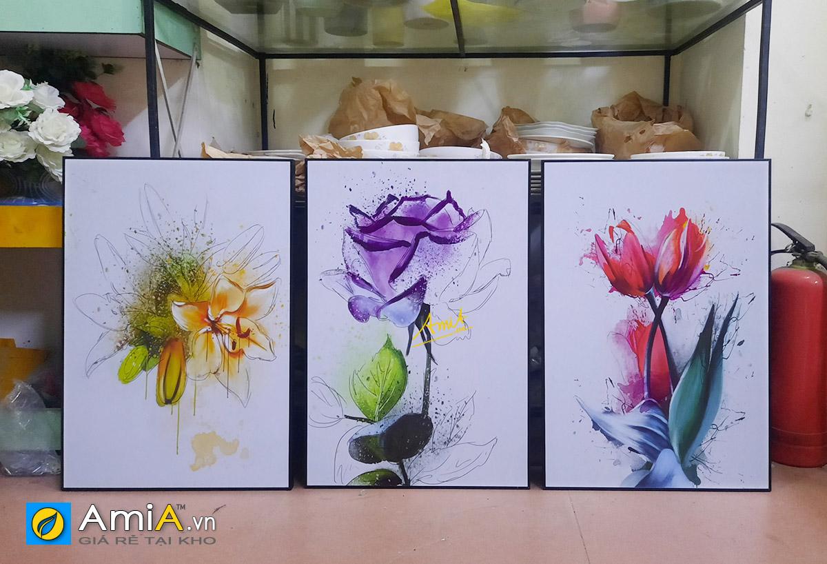 Hình ảnh Tranh hoa nghệ thuật treo tường phòng ăn bàn ăn hiện đại