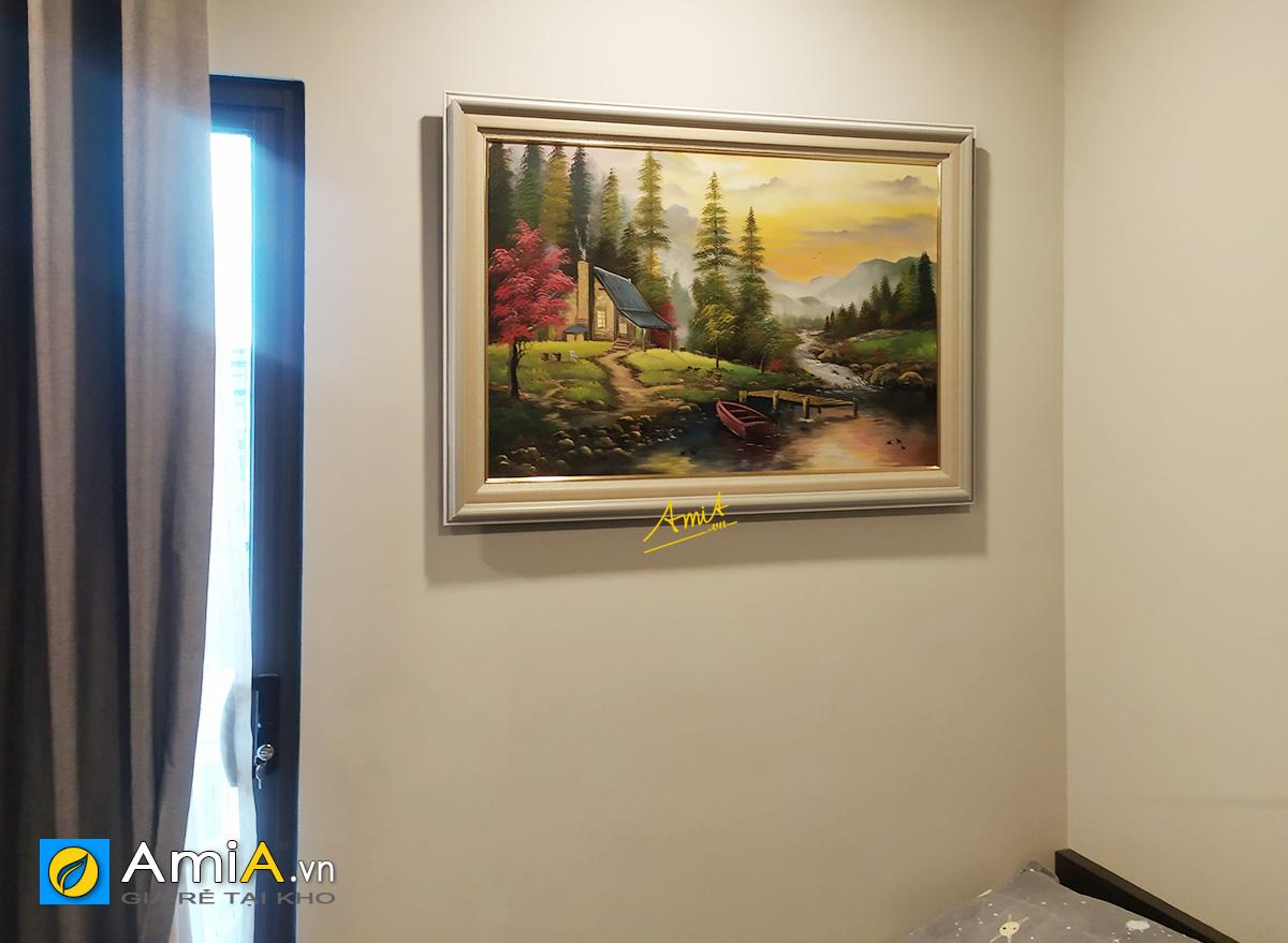 Hình ảnh Tranh phong cảnh nước ngoài ngôi nhà hạnh phúc treo tường phòng ngủ