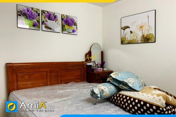 Hình ảnh Tranh phòng ngủ đẹp hoa lá trang trí hiện đại AmiA 1727
