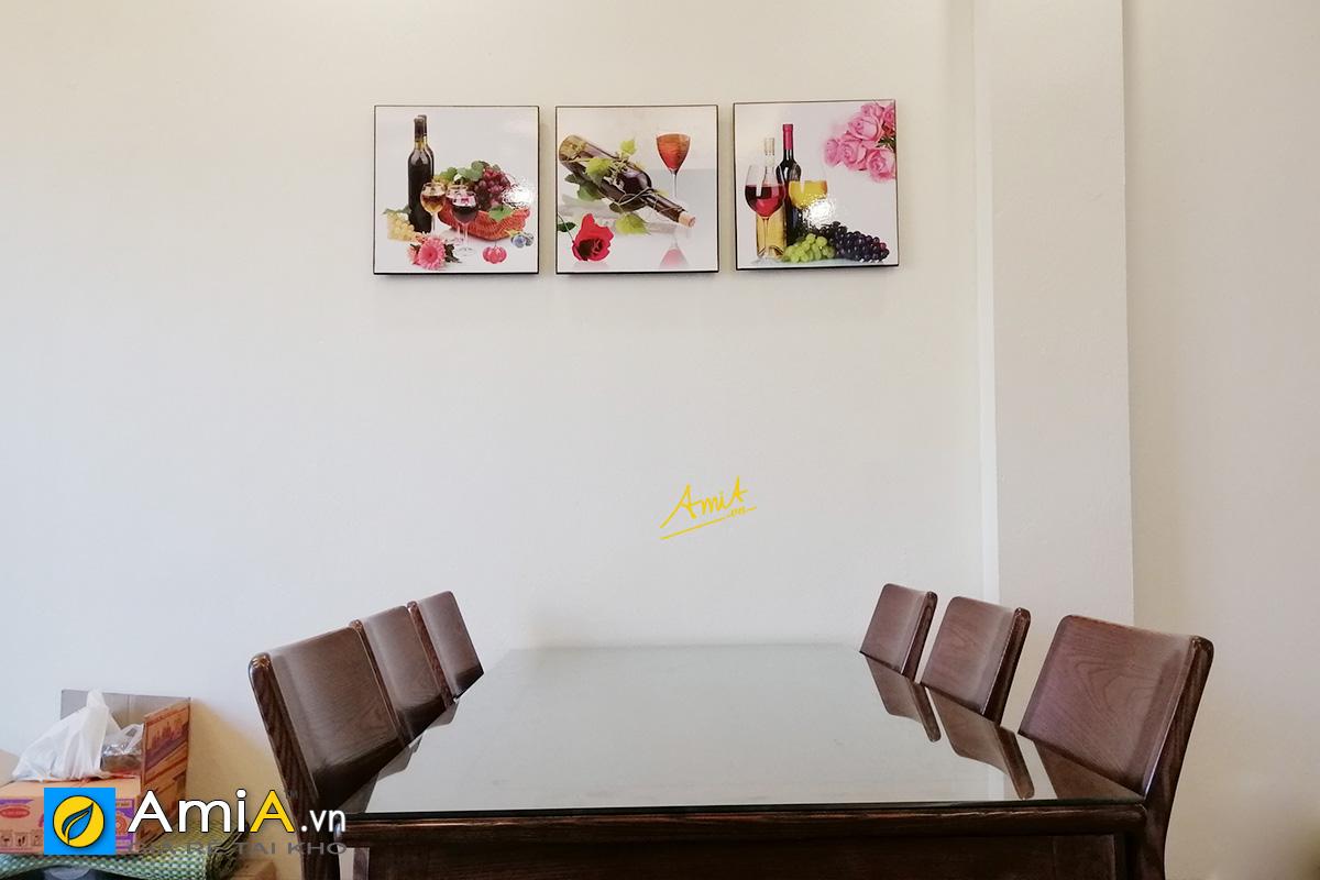 Hình ảnh Tranh rượu vang treo tường phòng ăn đẹp mã 1541