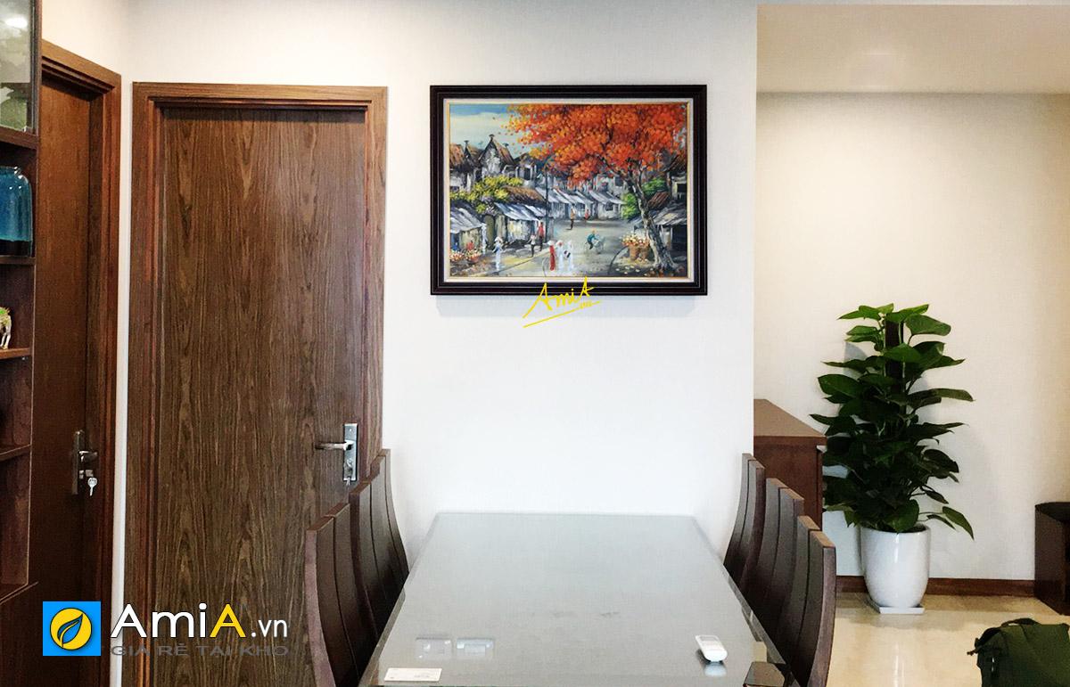 Hình ảnh Tranh sơn dầu phố cổ Hà Nội treo tường phòng ăn đẹp sang trọng