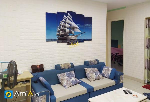 Hình ảnh Tranh thuyền buồm 5 tấm treo tường phòng khách đẹp mã 330
