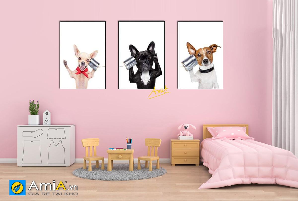 Hình ảnh Tranh treo phòng ngủ bé gái hình ảnh con vật đáng yêu mã 1537