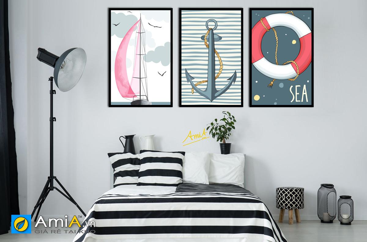 Hình ảnh Tranh treo phòng ngủ đẹp cho bé trai chủ đề biển cả mã 1492