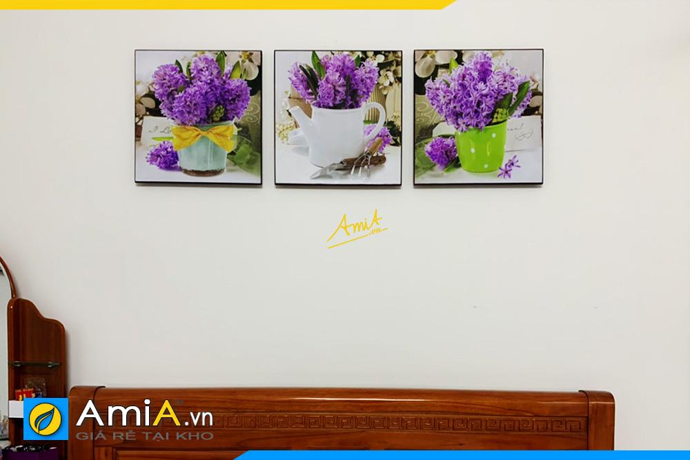 Hình ảnh Tranh treo phòng ngủ giá rẻ bình hoa đẹp hiện đại AmiA 1445
