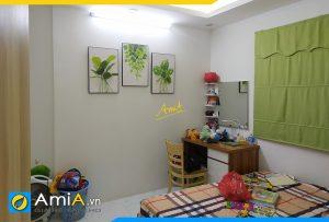 Hình ảnh Tranh treo phòng ngủ giá rẻ chủ đề lá cây xanh mát AmiA 919004