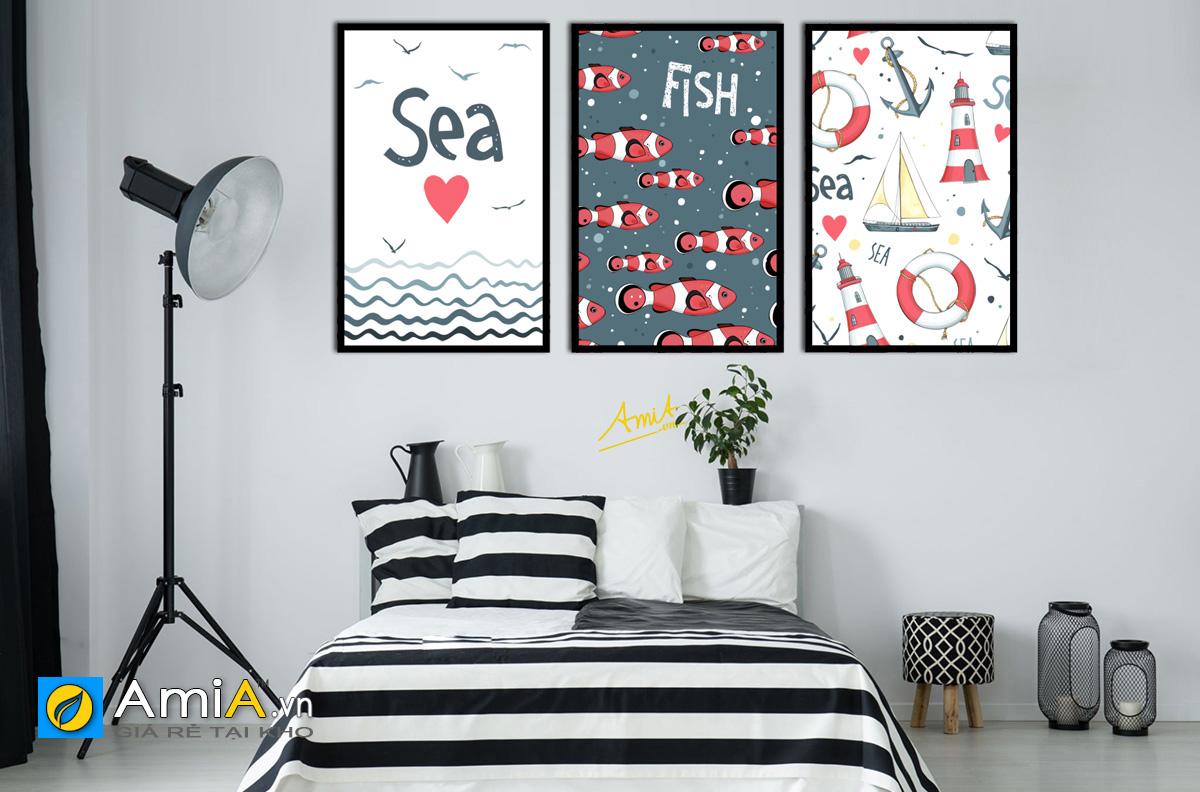 Hình ảnh Tranh treo tường chủ đề biển cho phòng ngủ bé trai mã 1491