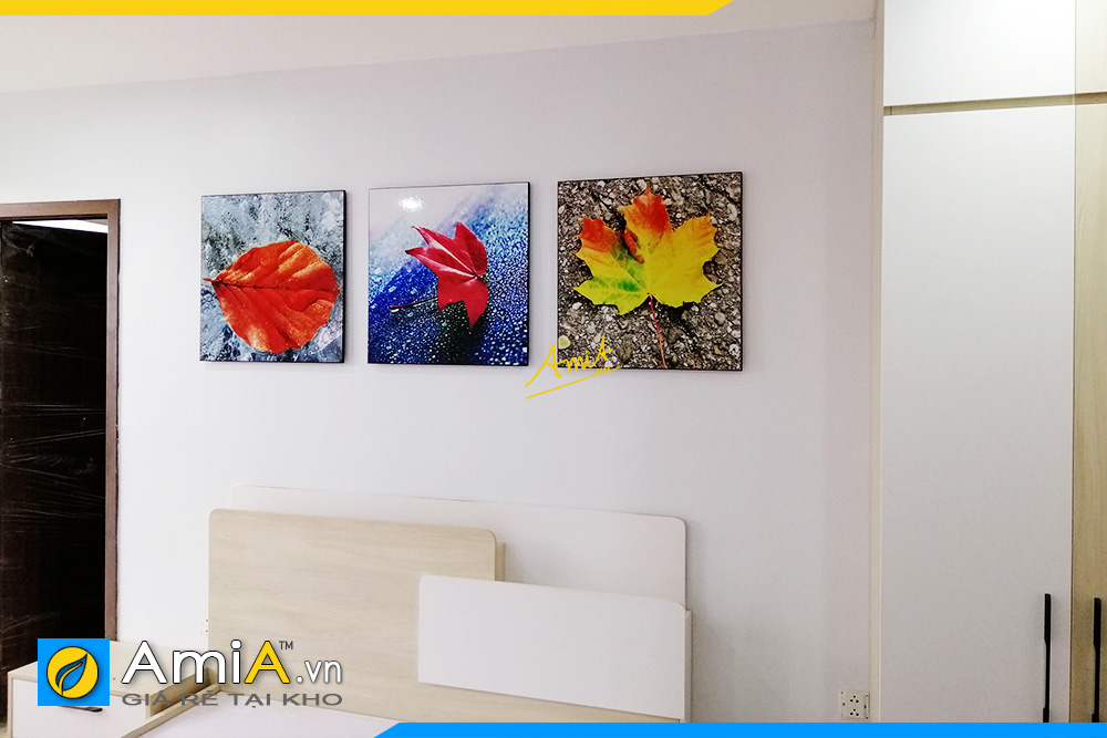 Hình ảnh Tranh treo tường phòng ngủ lá cây màu sắc nổi bật AmiA 1227
