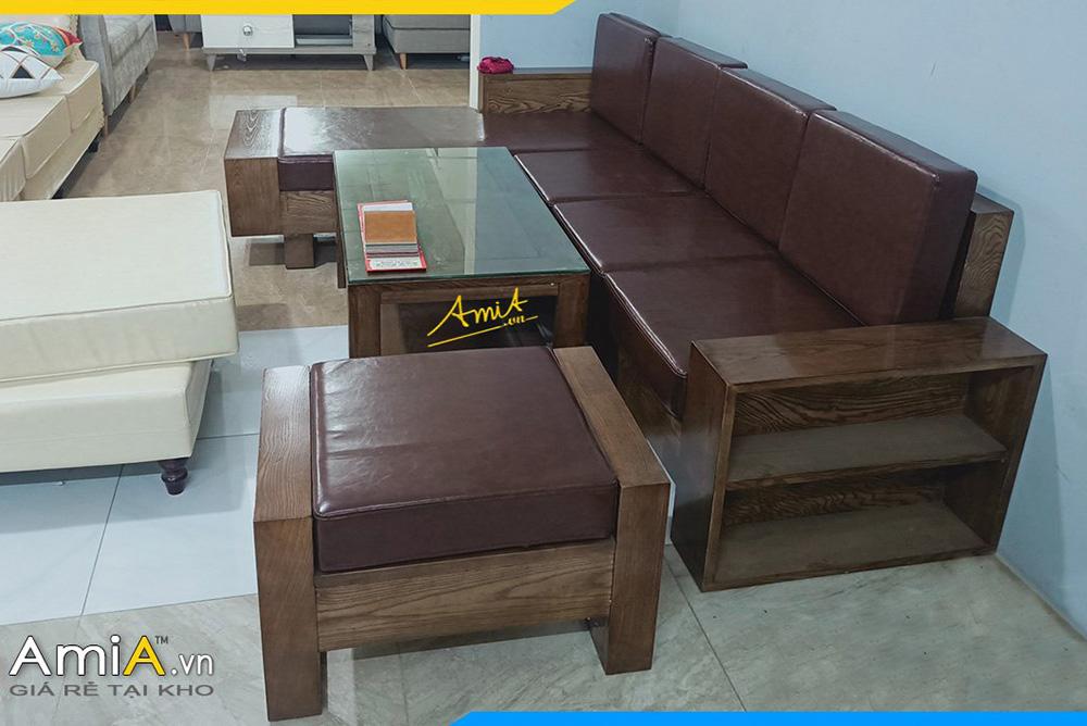 Mẫu sofa gỗ Sồi nhuộm màu nâu Óc chó kèm đệm da sang trọng