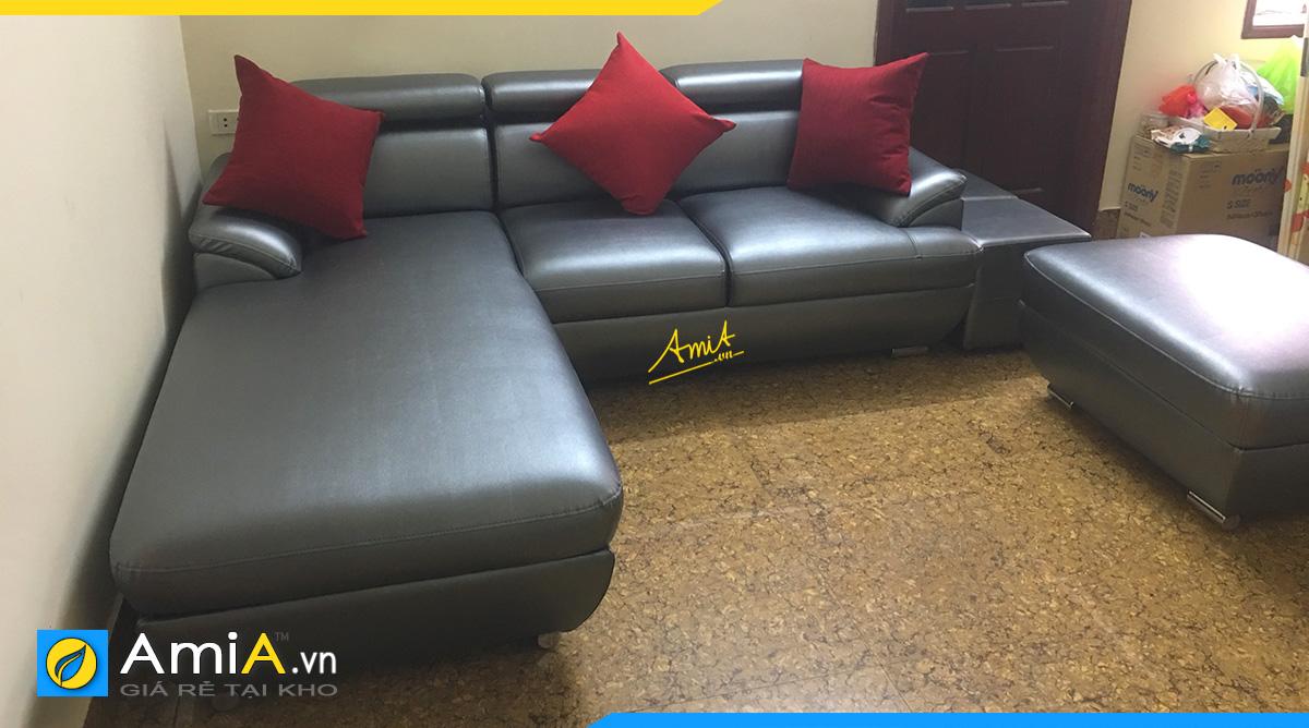Hình ảnh thực tế mẫu ghế sopha góc da tại nhà khách hàng ở Lương Định Của