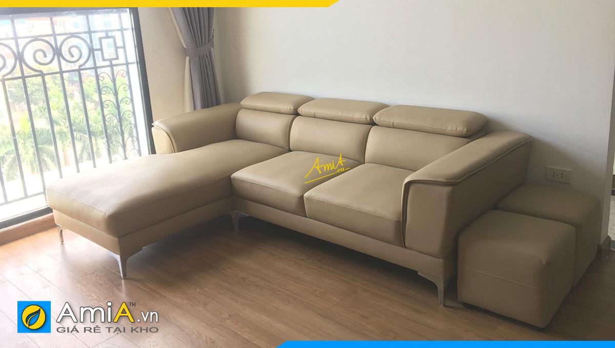 Sofa da góc màu kem hiện đại, giá rẻ cho phòng khách