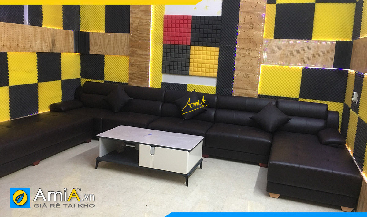 Bộ ghế sofa góc chữ U kê phòng hát gia đình của nhà khách hàng ở Thường tín