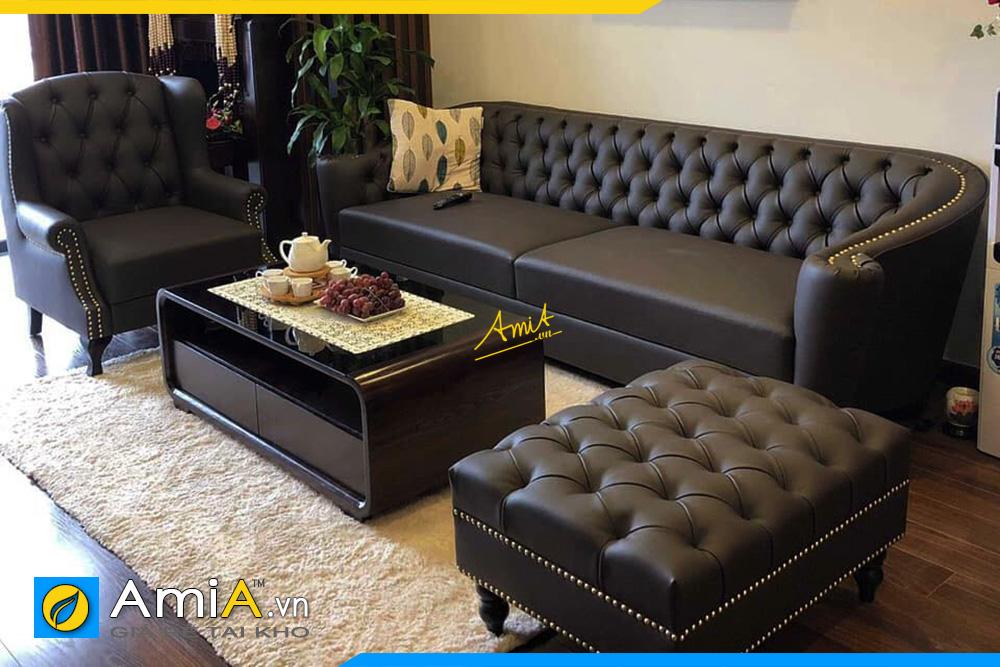 những mẫu sofa văng da đẹp màu đen
