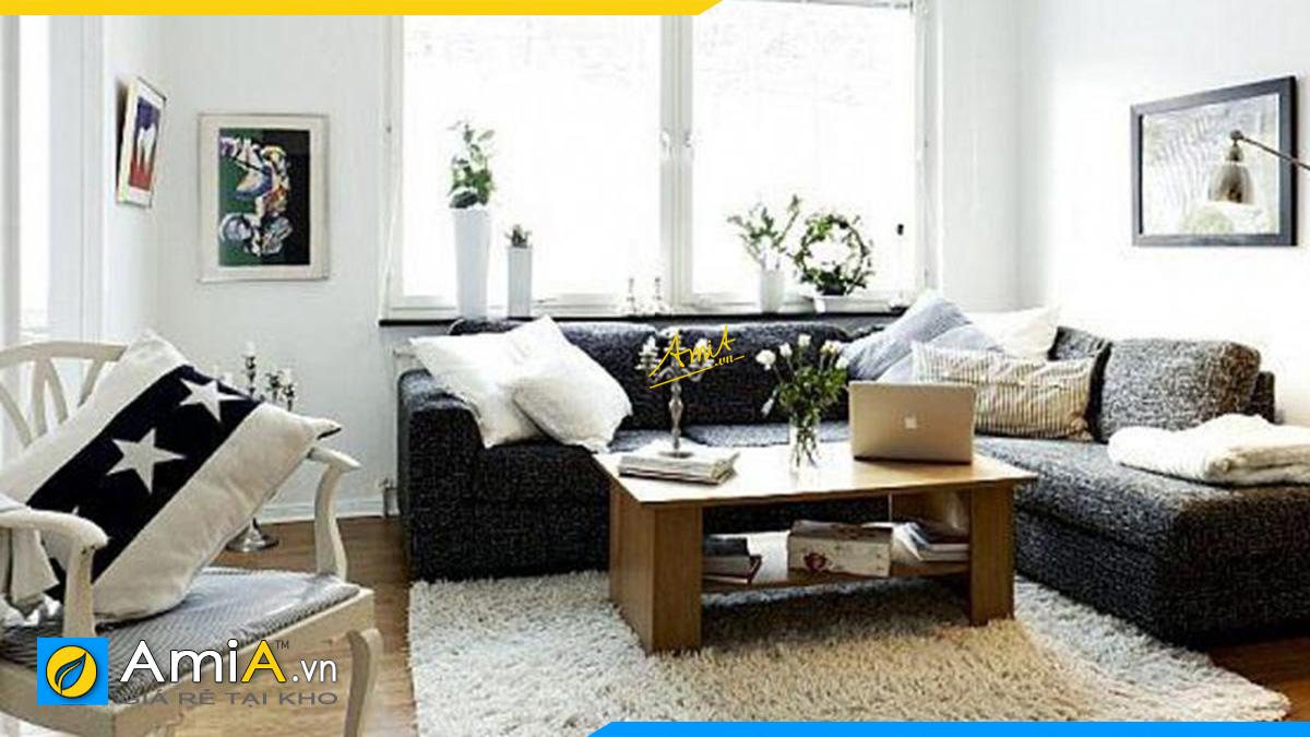 Bộ bàn ghế sofa góc chữ V phòng khách đẹp với chất liệu vải nỉ trẻ trung