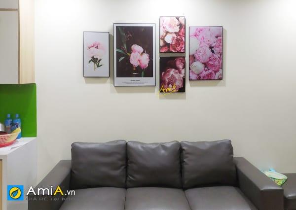 Hình ảnh Bộ tranh canvas hoa mẫu đơn đẹp hiện đại treo phòng khách