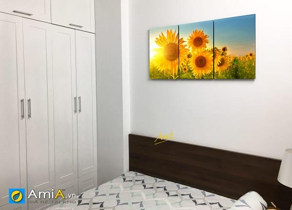 Hình ảnh Bộ tranh đẹp hoa hướng dương in ép gỗ ghép 3 tấm treo phòng ngủ mã 1920