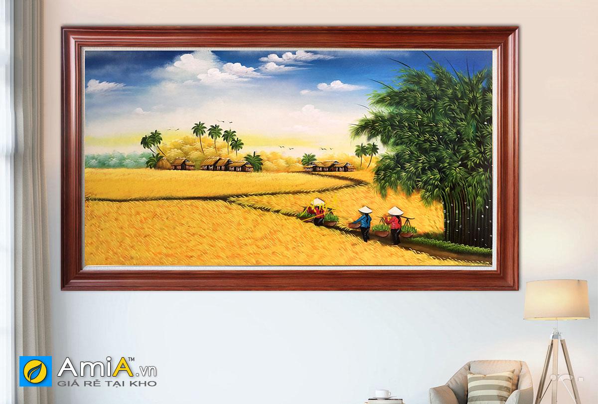 Hình ảnh Bức tranh cánh đồng lúa chín làng quê Việt Nam đẹp mã TSD 544
