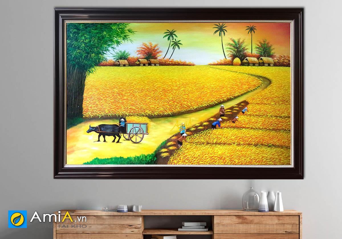 Hình ảnh Bức tranh đồng quê Việt Nam vụ mùa bội thu vẽ sơn dầu mã TSD 195