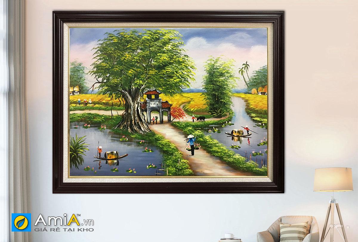 Hình ảnh Bức tranh khung cảnh làng quê Việt Nam đẹp mã TSD 395a