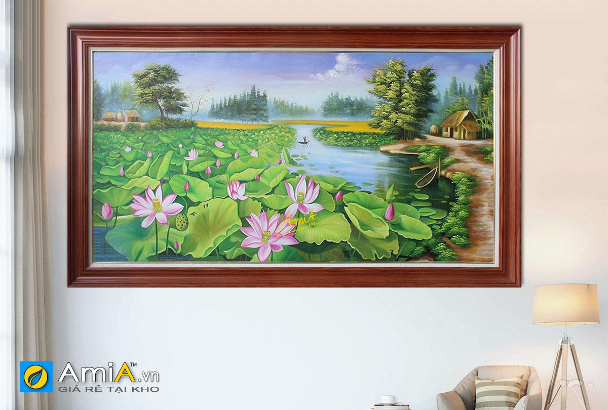 Hình ảnh Bức tranh phong cảnh hồ sen nơi thôn quê đẹp mã TSD 432