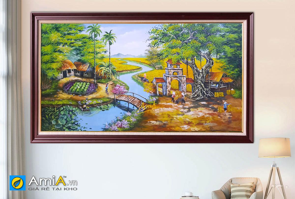 Hình ảnh Bức tranh phong cảnh làng quê đẹp nên thơ mã TSD 554