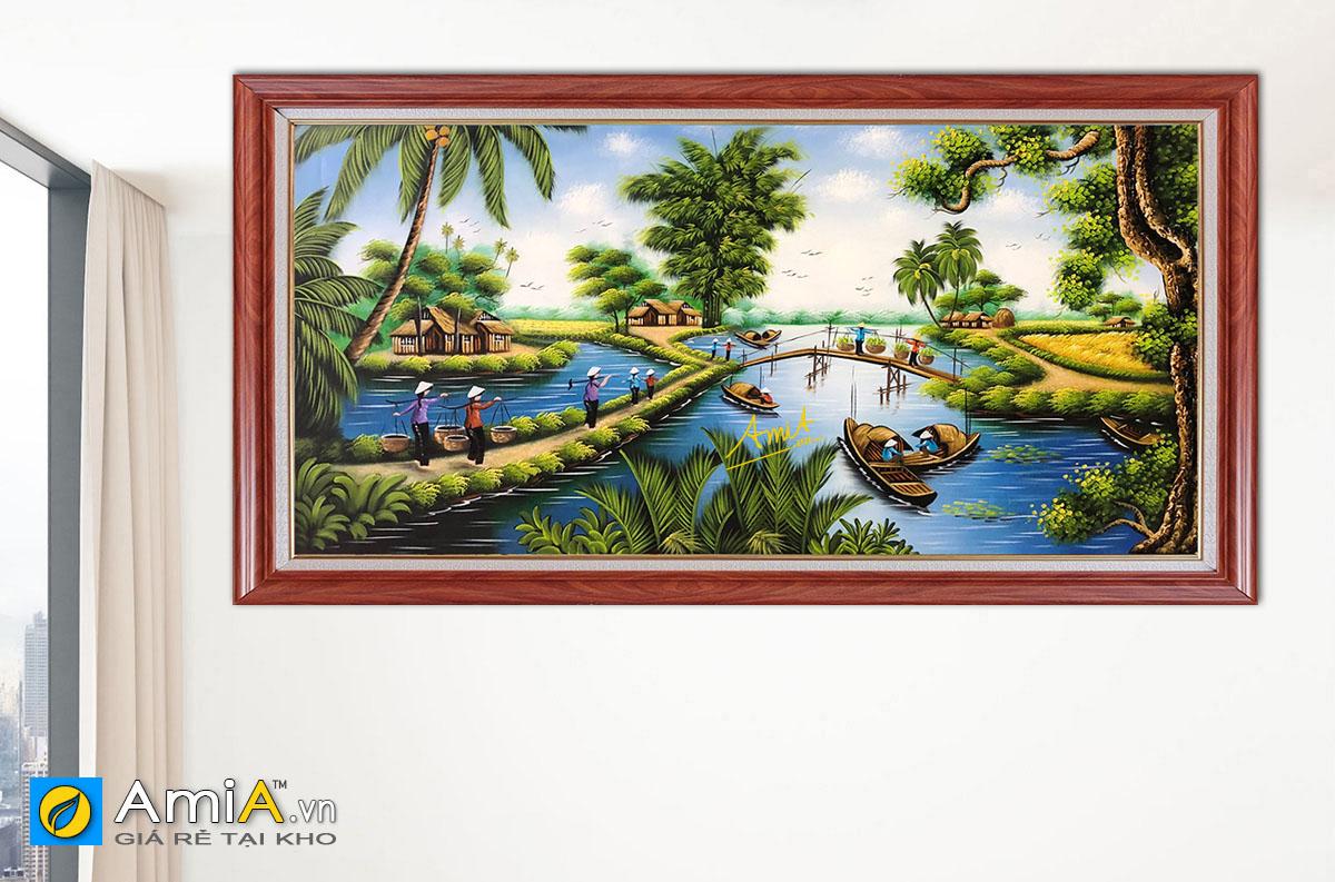 Hình ảnh Bức tranh phong cảnh làng quê miền Tây sông nước đẹp mã TSD 516