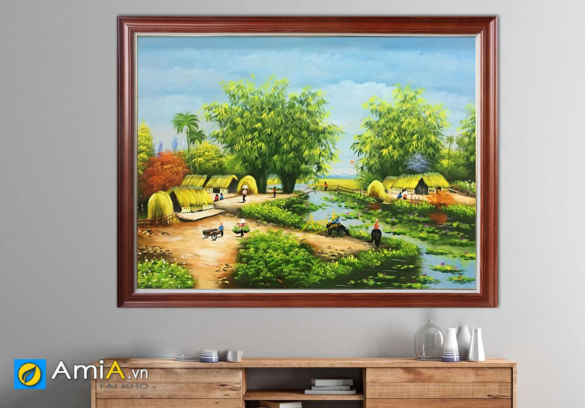 Hình ảnh Bức tranh phong cảnh miền quê sông nước mã TSD 379b