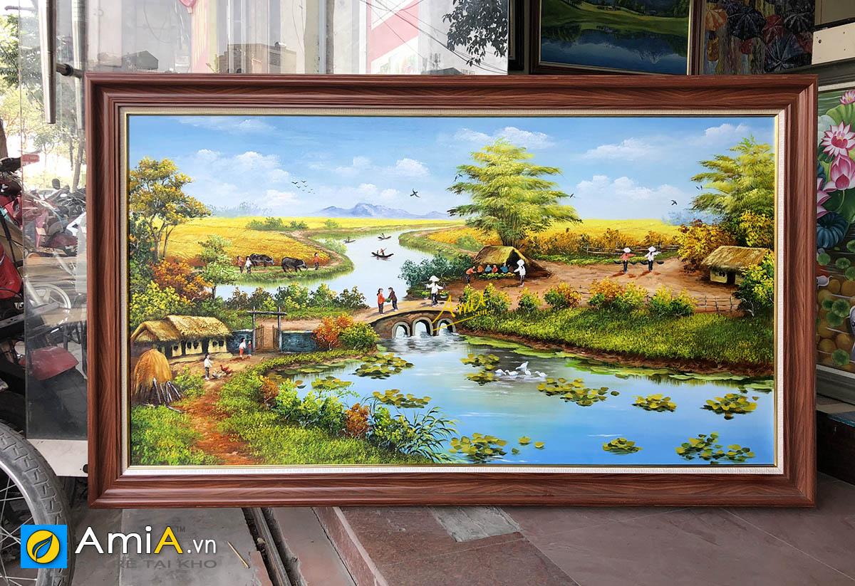 Hình ảnh Bức tranh sơn dầu làng quê đồng quê Việt Nam mã TSD 555