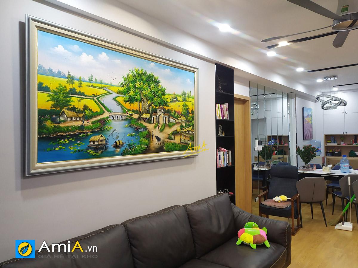 Hình ảnh Bức tranh vẽ phong cảnh làng quê Việt Nam mã TSD 433