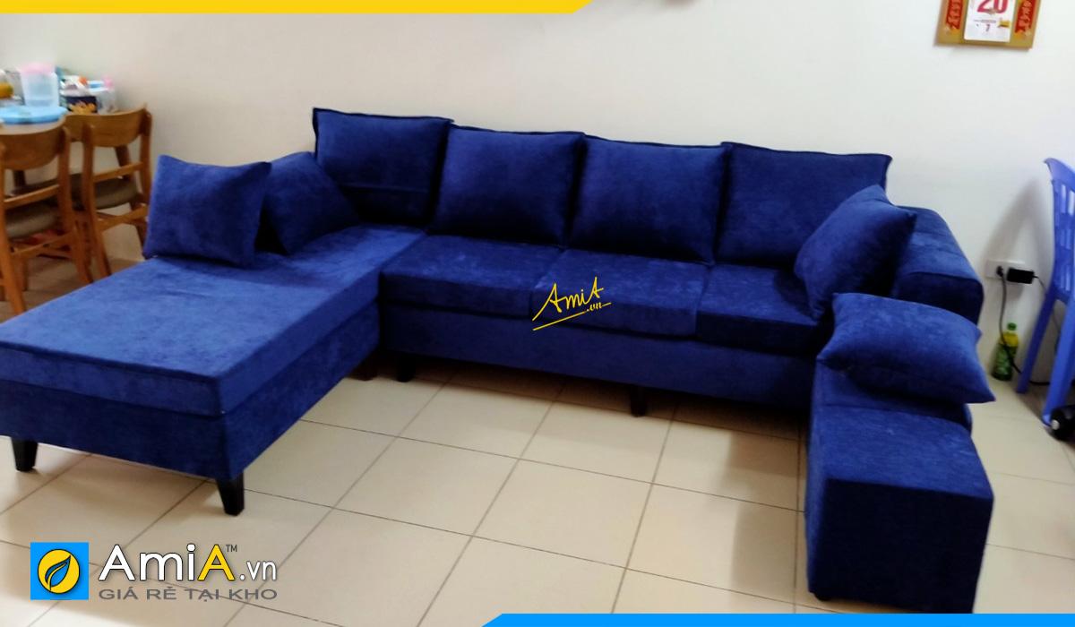 Ghế sofa góc chữ U bọc nỉ nhung màu xanh trẻ trung, năng động