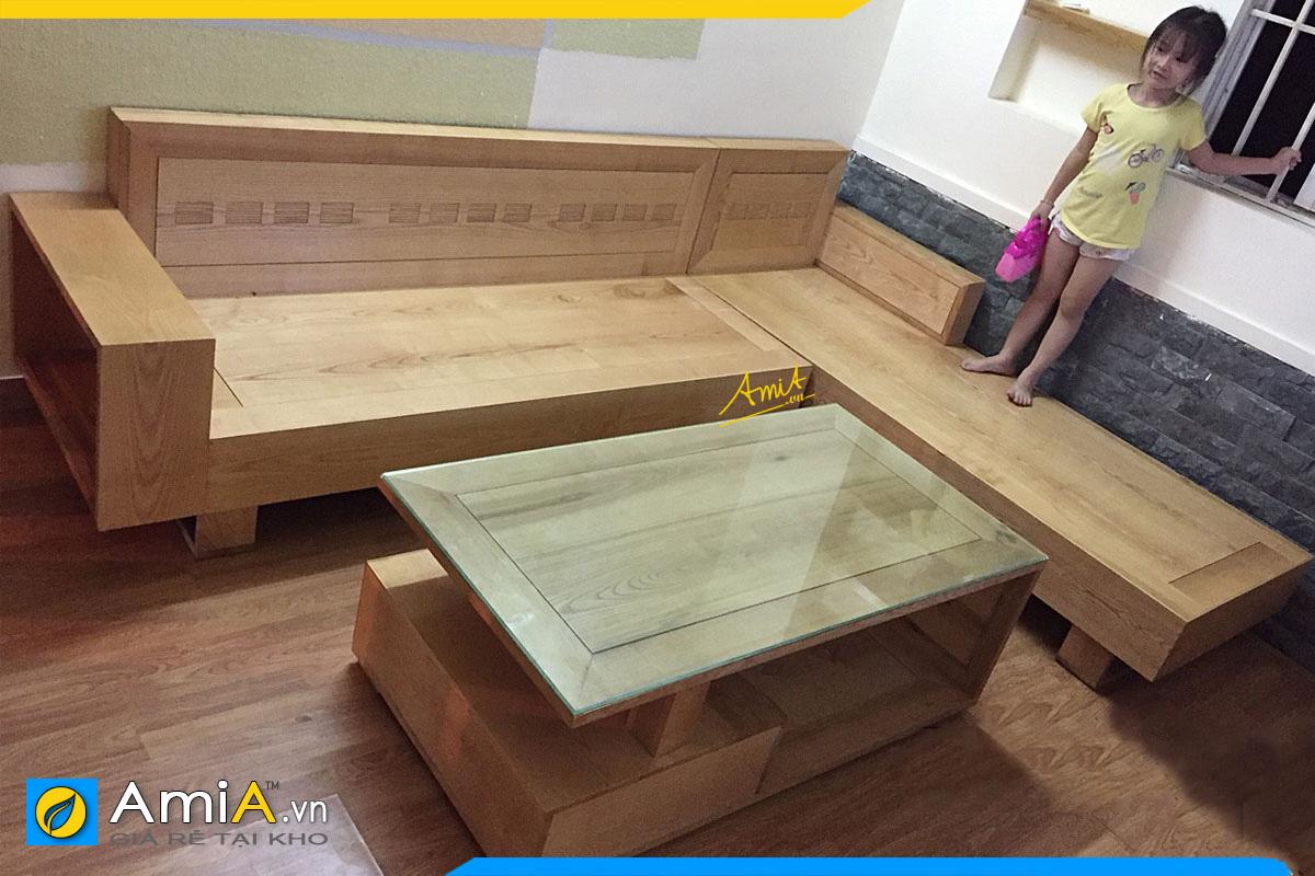Ghế sofa gỗ góc chữ L và bàn trà kê phòng khách đẹp giá bán 11 triệu 900