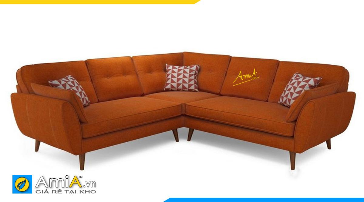Ghế sofa góc chữ V màu cam nổi bật cho không gian kê nhà bạn