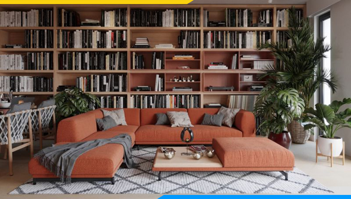 Mẫu sofa góc chữ V kê phòng đọc sách