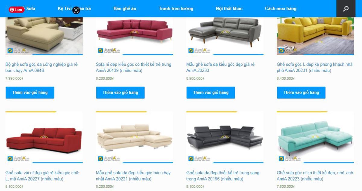 Địa chỉ mua sofa góc tại Hà Nội