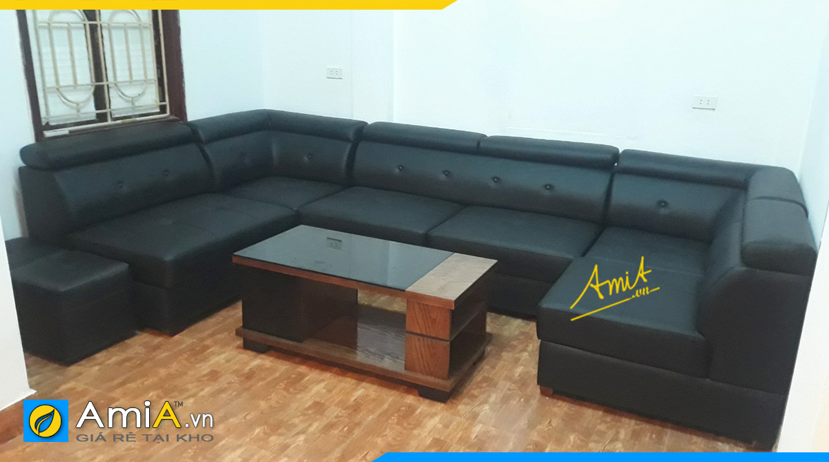 Ghế sofa góc chữ U sang trọng với chất liệu da bền đẹp